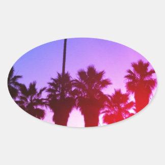 Palm Trees Venice Beach Oval Sticker
