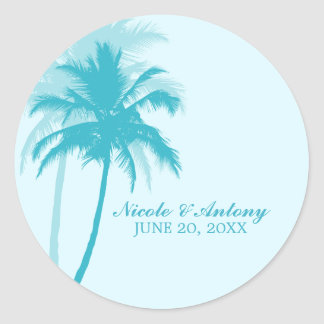 Palm Trees Wedding Classic Round Sticker