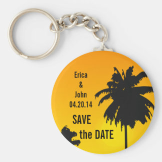 Palm Trees Wedding Save the Date Keychain