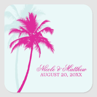 Palm Trees Wedding Square Stickers