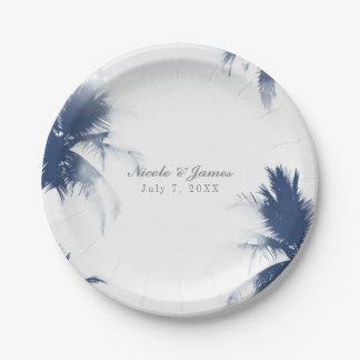 Palm Trees White Glamour Chic Modern Tropical Paper Plate