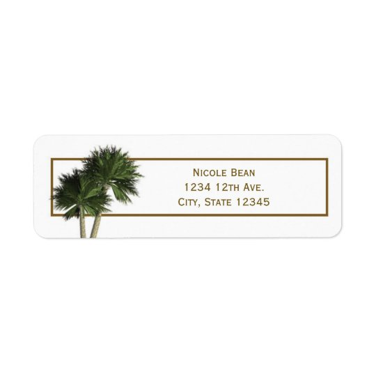 Palm Trees White & Gold Elegant Address Labels