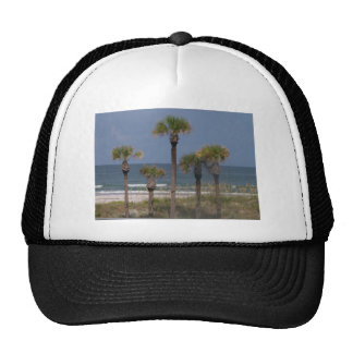 Palm Trees with a Surf Backdrop Hats