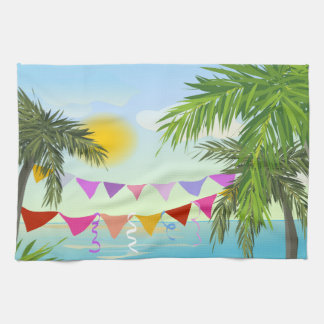 Palm trees with Bunting and Sun dishtowel Tea Towel