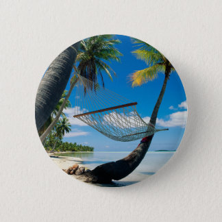 Palm Trees with Hammock pinback button
