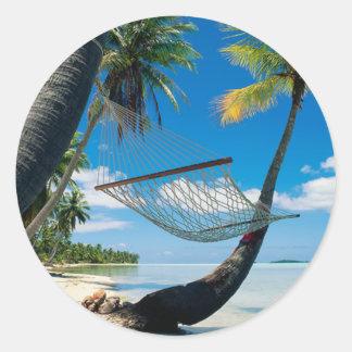 Palm Trees with Hammock Round Sticker