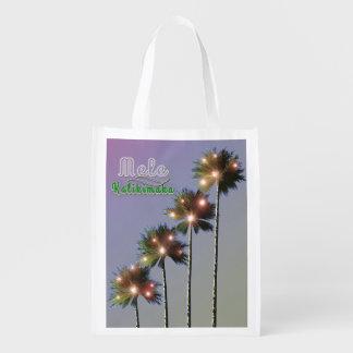 Palm Trees With Lights Mele Kalikimaka Reusable Grocery Bag