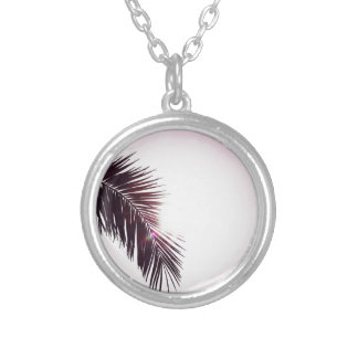 Palm winks Leaf with Sun Silver Plated Necklace