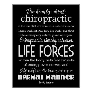 Palmer Quote The Beauty About Chiropractic Poster