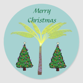 Palms and Christmas Trees Round Sticker