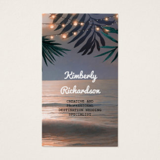Palms and String Lights Beach Sunset Destination Business Card
