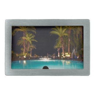 Palms, pool, woman and beer... belt buckle