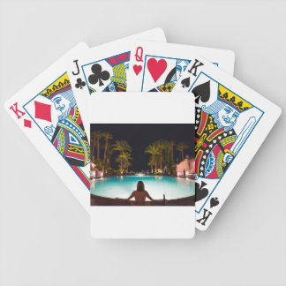 Palms, pool, woman and beer... bicycle playing cards