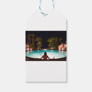 Palms, pool, woman and beer... gift tags