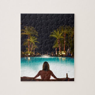 Palms, pool, woman and beer... jigsaw puzzle