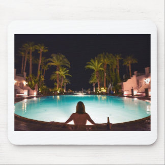 Palms, pool, woman and beer... mouse pad