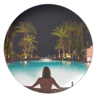 Palms, pool, woman and beer... plate