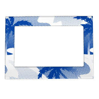 Palms with abstract water magnetic picture frame