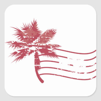 Palmtree rubber stamp square sticker