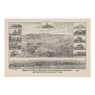 Palo Alto, CA. Panoramic Map 1888 (1658A) Poster