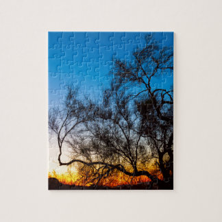 Palo Verde Tree Silhouette Sunrise Jigsaw Puzzle
