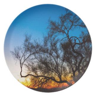 Palo Verde Tree Silhouette Sunrise Plate