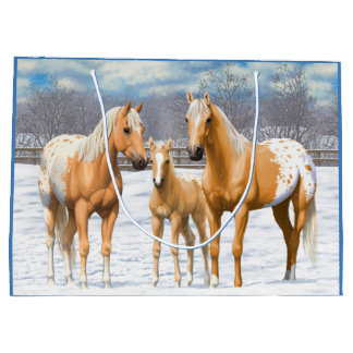 Palomino Appaloosa Horses In Snow Large Gift Bag