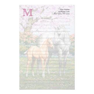 Palomino Foal and Gray Horse Custom Stationery