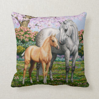 Palomino Foal and Gray Horse Throw Pillow