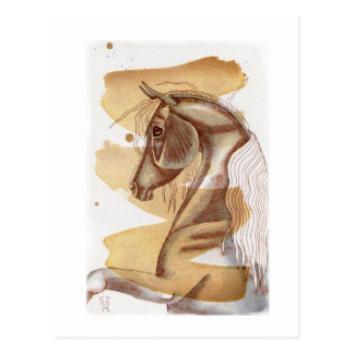 Palomino Horse On Gold Watercolor Wash Post Card