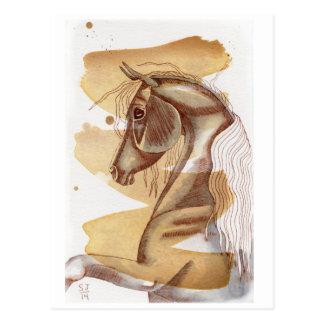 Palomino Horse On Gold Watercolor Wash Postcard