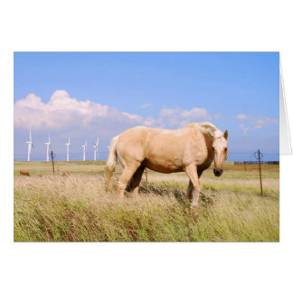 Palomino Horse with Windmills Card