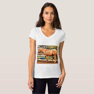 Palomino Horse Women's Vee Neck Jersey Tee Shirt