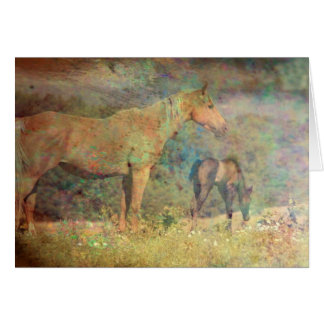 Palomino Mare and Foal Greeting Card