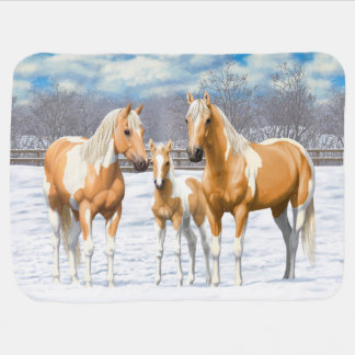 Palomino Paint Horses In Snow Baby Blanket