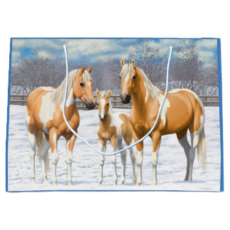 Palomino Paint Horses In Snow Large Gift Bag
