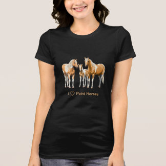 Palomino Paint Horses In Snow T-Shirt