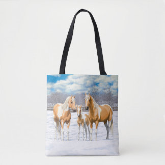 Palomino Paint Horses In Snow Tote Bag