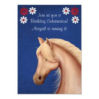 Palomino Red White and Blue Horse Birthday Invite