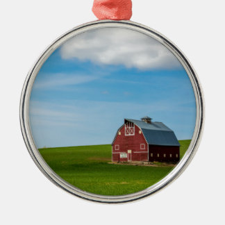 Palouse Country Barn - Eastern Washington Silver-Colored Round Decoration