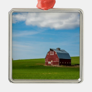 Palouse Country Barn - Eastern Washington Silver-Colored Square Decoration