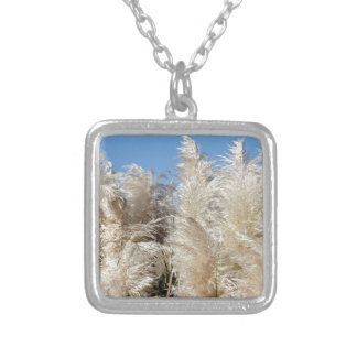 Pampas Grass with a Sunny Blue Sky Silver Plated Necklace