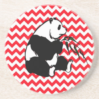 Panada on Fire Engine Red Chevron Beverage Coaster