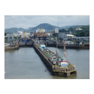 Panama Canal Lock Poster