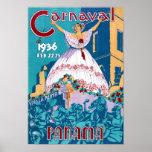 Panama Carnival Vintage Travel Poster Restored