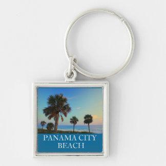 Panama City Beach FL Palm Tree Sunset Keyring Silver-Colored Square Key Ring