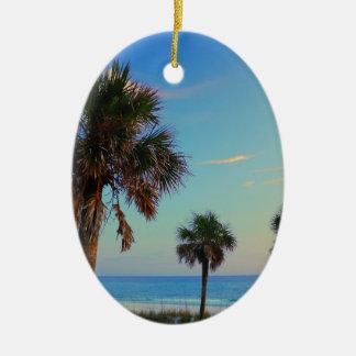 Panama City Beach, Florida palm trees Ceramic Ornament