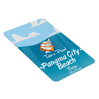 Panama City Beach Florida vintage travel poster. Magnet