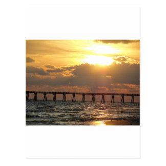 Panama City Beach Pier Sunset Postcard