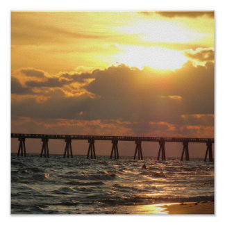 Panama City Beach Pier Sunset Poster